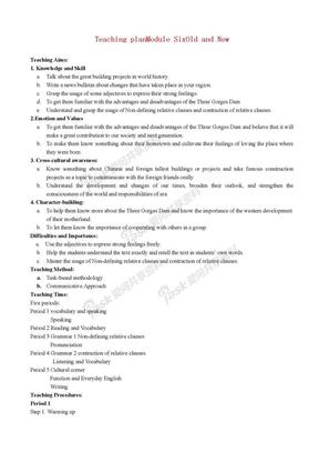 高中英语 第6模块全套教案 外研版必修3.doc