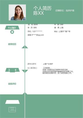 清新时尚风格护士求职个人简历word简历模板.docx