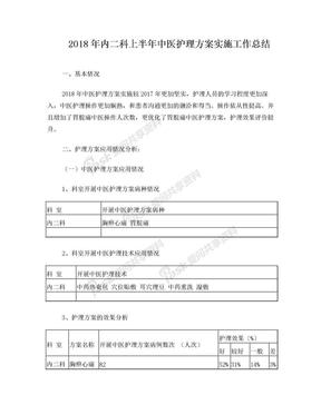 内二科2018年中医护理方案优化总结.doc
