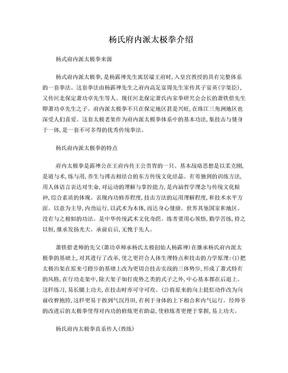 杨氏府内太极介绍.doc