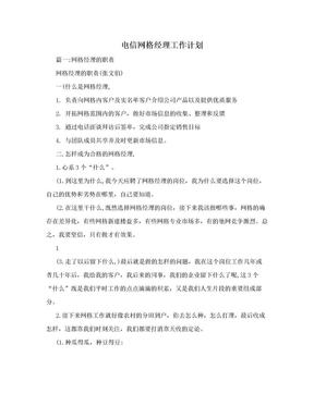电信网格经理工作计划.doc