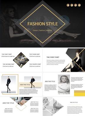 黑黄配欧美时尚服装模板