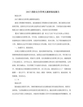 2017消防安全管理人履职情况报告.doc