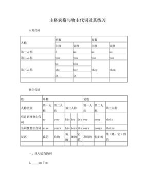 英语主格宾格-形容词性物主代词及名词性物主代词辨析及练习题.doc