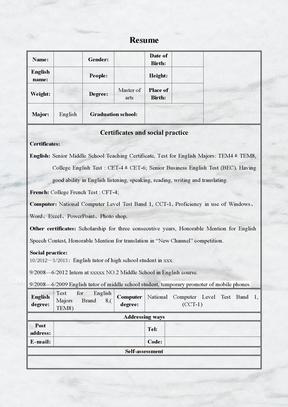 英文表格简历商务风格模板
