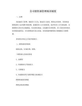 公司销售部管理规章制度.doc