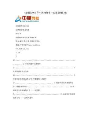 (最新)2011年中国内部审计实务指南汇编.doc
