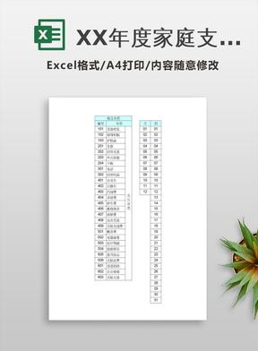 XX年度家庭支出记账表excel模板.xls