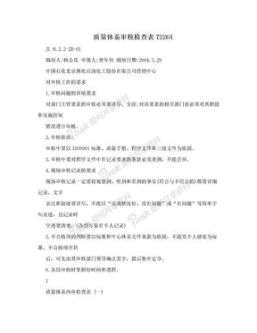 质量体系审核检查表72264.doc