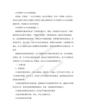 小学教师个人专业发展规划.doc