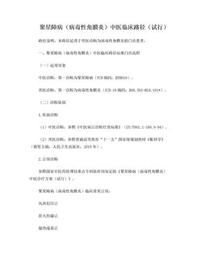 眼科 聚星障病(病毒性角膜炎)中医临床路径(试行版).doc