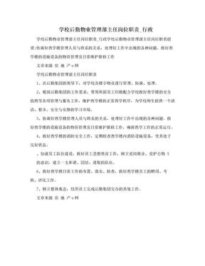 学校后勤物业管理部主任岗位职责_行政.doc