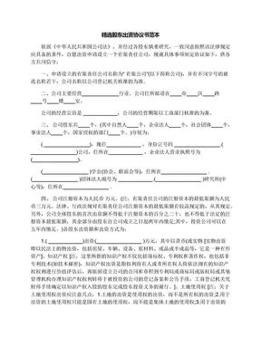 精选股东出资协议书范本.docx
