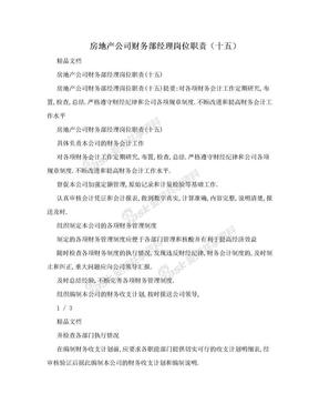 房地产公司财务部经理岗位职责(十五).doc