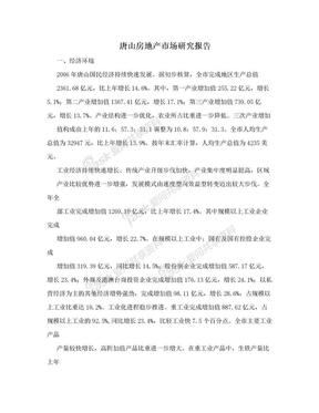 唐山房地产市场研究报告.doc