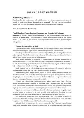 2013年6月大学英语6级考试真题及答案.docx