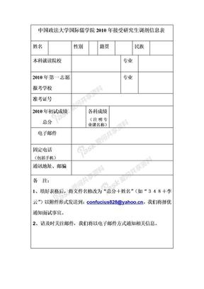 中国政法大学国际儒学院2009年接 受研究生调剂信息表.doc