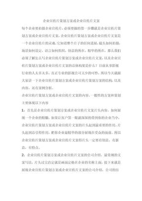 企业宣传片策划方案.doc