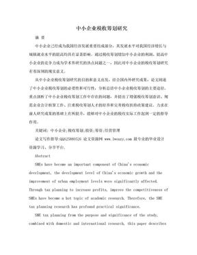 中小企业税收筹划研究.doc