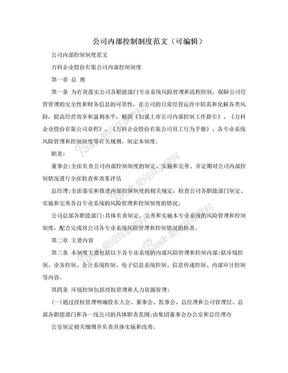 公司内部控制制度范文(可编辑).doc
