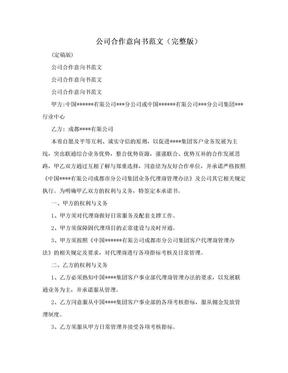 公司合作意向书范文(完整版).doc