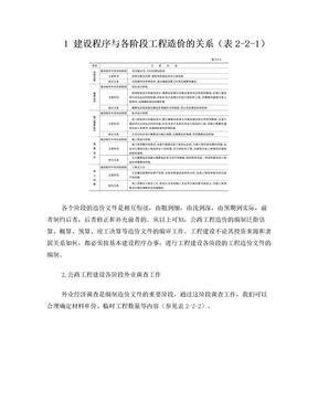公路工程建设程序与各阶段工程造价关系知识表.doc