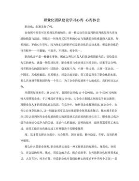职业化团队建设学习心得 心得体会.doc