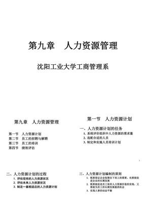 沈阳工业大学 管理学教学课件 第九章 人力资源管理.ppt