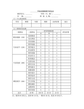 学校对教师教学评估表.doc