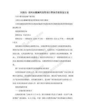 同致行-郑州水榭澜湾别墅项目整体营销策划方案.doc