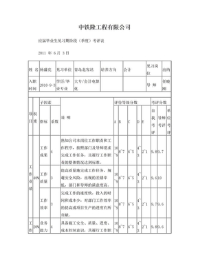 应届毕业生见习期阶段(季度)考评表.doc