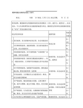 12.精神功能大体评定量表(GAF,09.7)