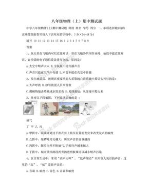 八年级物理(上)期中测试题.doc