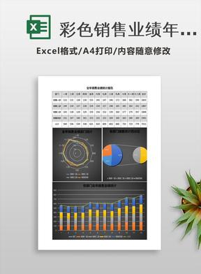 彩色销售业绩年度统计图Excel表格模板.xlsx