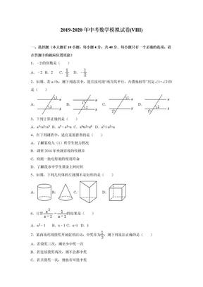 2019-2020年中考数学模拟试卷(VIII).doc