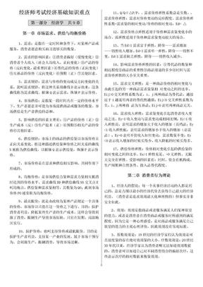 2019经济师考试经济基础知识重点考试必考重点【精华版.doc