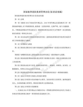 国家跆拳道队集训管理办法(征求意见稿).doc