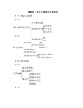 湘教版七年级上册地理知识框架.doc
