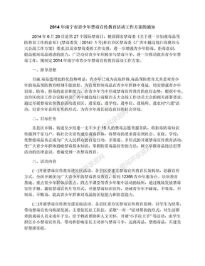 2014年南宁市青少年禁毒宣传教育活动工作方案的通知.docx