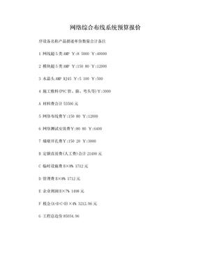 网络综合布线系统预算报价.doc