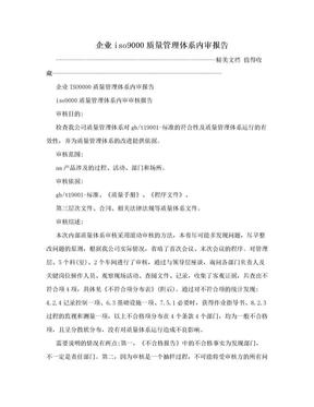 企业iso9000质量管理体系内审报告.doc