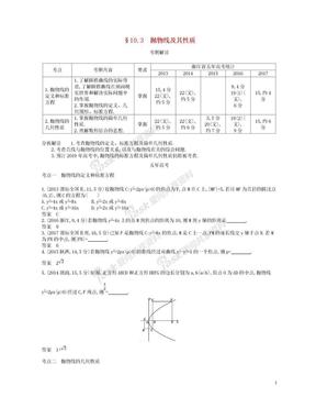 浙江专版2019版高考数学一轮复习第十章圆锥曲线与方程10.3抛物线及其性质学案.doc