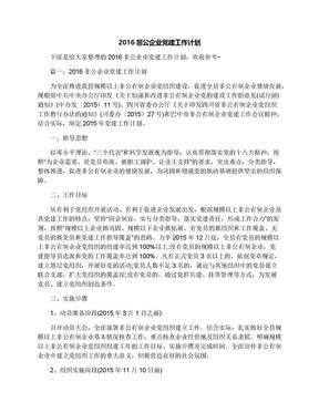 2016非公企业党建工作计划.docx