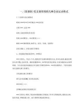 各种党支部会议记录格式.doc