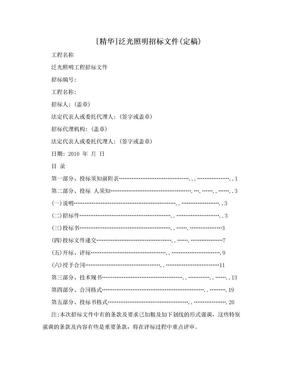 [精华]泛光照明招标文件(定稿).doc