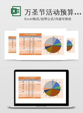 万圣节活动预算表模板-Excel图表模板.xlsx