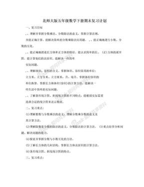 北师大版五年级数学下册期末复习计划.doc