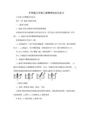 沪科版九年级上册物理知识点复习.doc