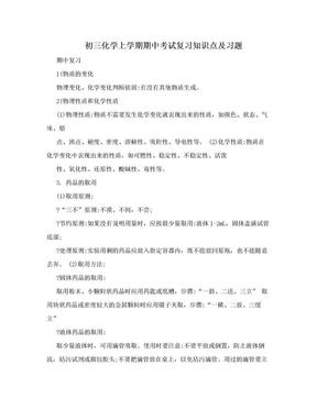 初三化学上学期期中考试复习知识点及习题.doc