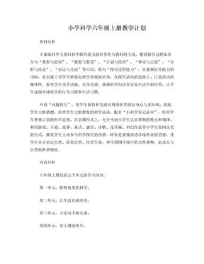 大象版六年级科学上册教学计划.doc